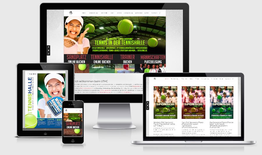 Homepage Webdesign für Tennis
