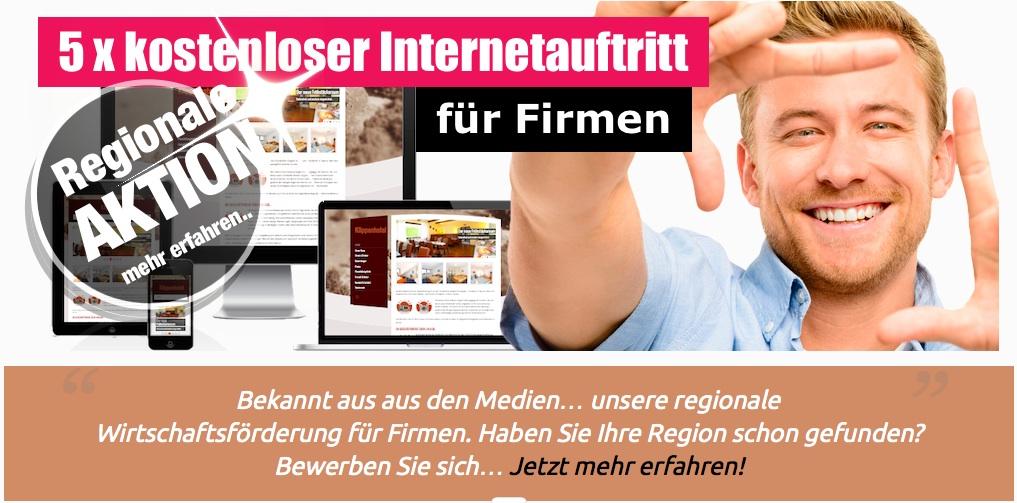 5 mal kostenloser Internetauftritt für Firmen einer Region