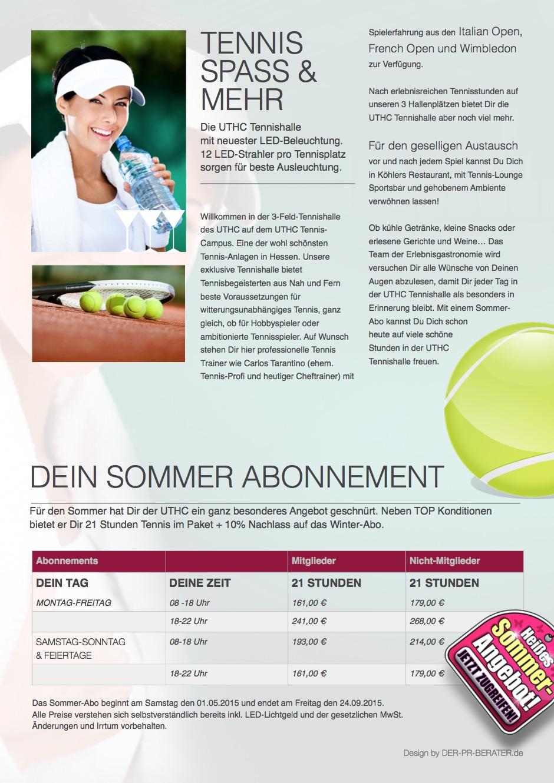 Tennis-Broschüre für Tennishalle vom PR-Berater 03