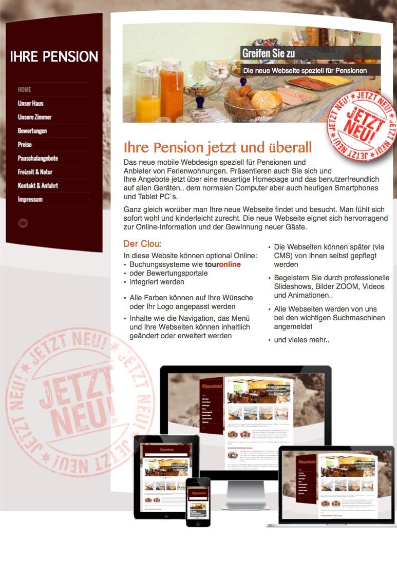 Neue mobile Webseite fuer Pensionen Hotels und Gastronomie_Info