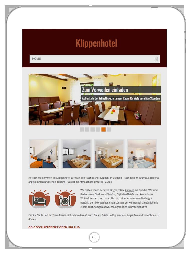 Responsive Webdesign für Hotel-Online-Shop und Website. Darstellung im iPad (mobile device) groß 03