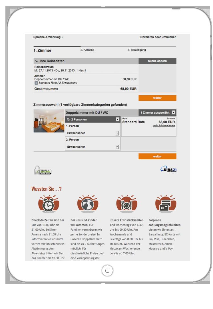 Responsive Webdesign für Hotel-Online-Shop und Website. Darstellung im iPad (mobile device) groß 01