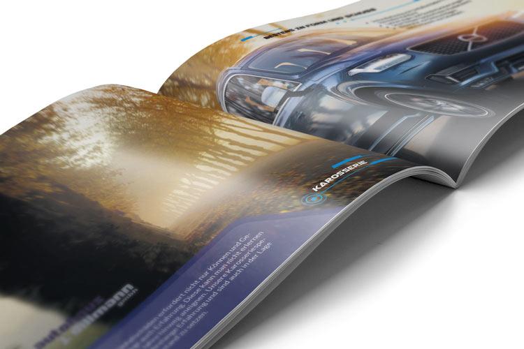Autohaus Broschüren Innenansicht Design-Ausschnitt
